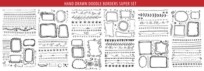 Hand drawn line, border, frame vector design element set. Template for invitation or greeting card.