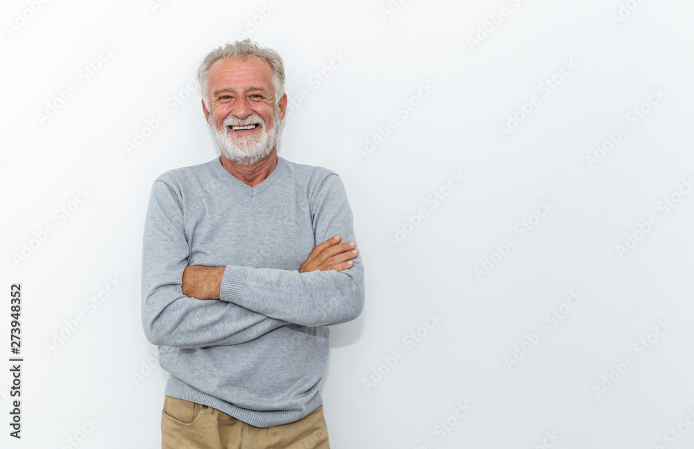 Fototapeta Portrait of healthy happy smile senior elderly caucasian old arm crossed with copy space isolated on white. Golden age healthcare cheerful lifestyle freedom relax retirement concept