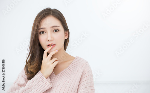 Photo  Portrait of young beautiful innocence asian woman relax in her bedroom