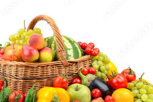Poster Légumes frais Large variety useful fruits and vegetables in basket isolated on white