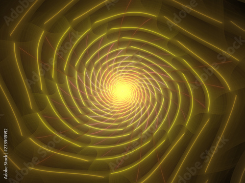 Yellow Fractal Spiral Background Image, Illustration - Infinite repeating spiral pattern, vortex of geometry. Recursive symmetrical patterns compressed and twisted into a central focal point.