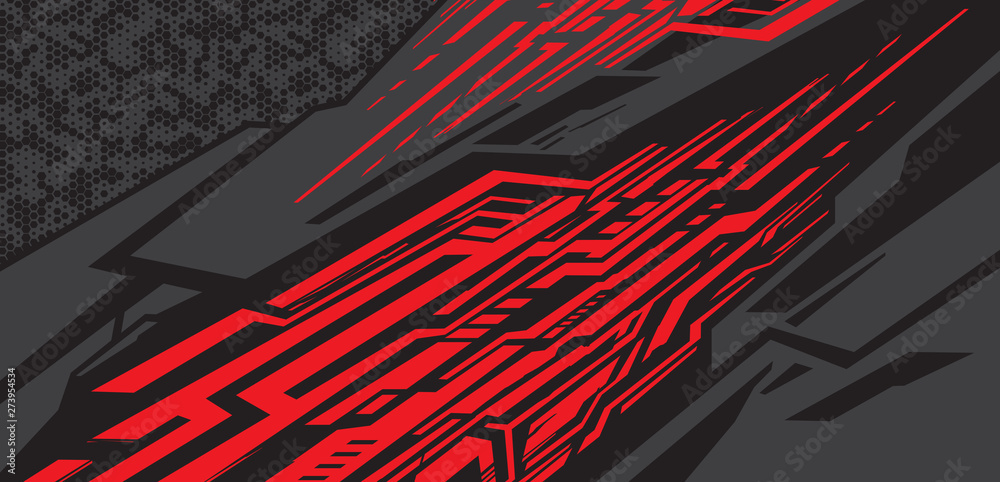 Fototapety, obrazy: Sport Car decal wrap design vector. Graphic abstract stripe racing background kit designs for vehicle, race car, rally, adventure and livery