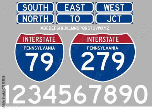 Cuadros en Lienzo Highway Road signs interstate