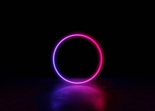 Abstract Neon Background And Luminous Swirling.Glowing Spiral Cover.blue Pink Neon Round Frame, Circle, Ring Shape, Empty Space.3d Render