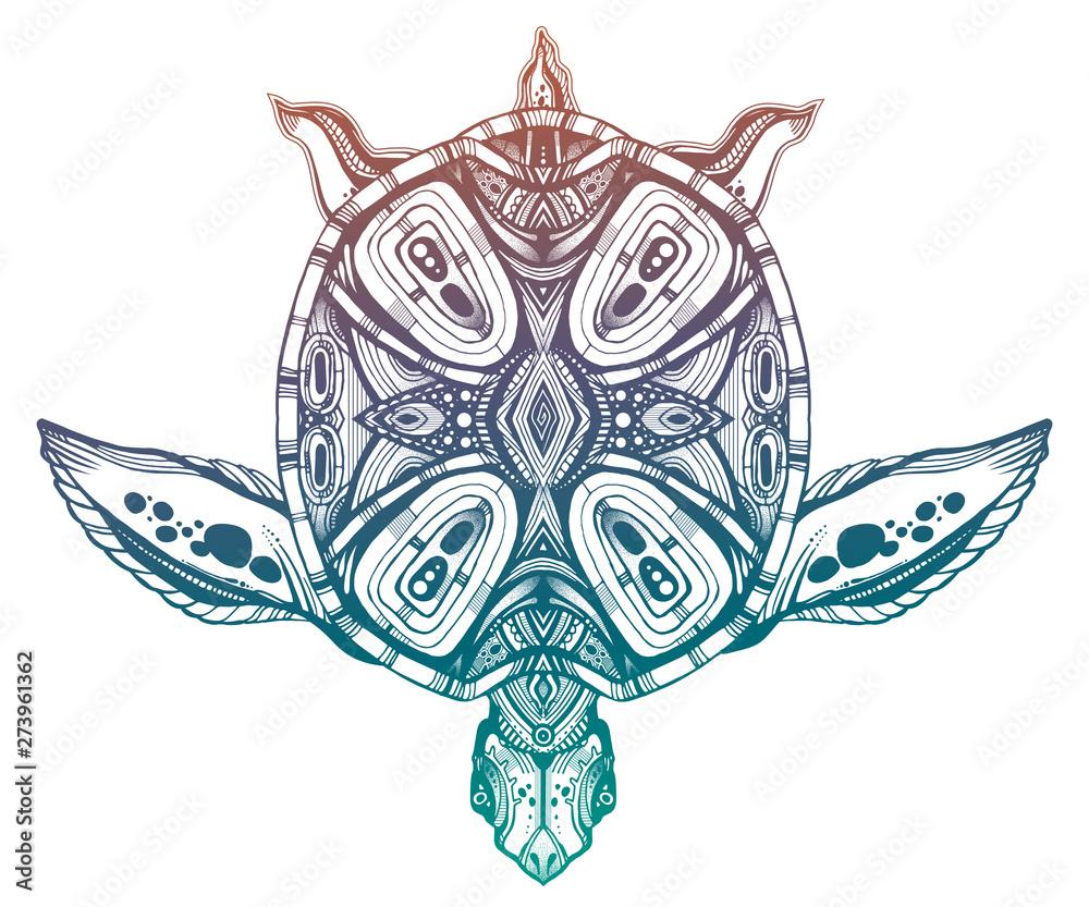 Fototapeta Ornate tribal sea turtle in indigenous Polynesian style.
