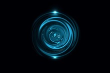 Glowing Blue Vortex With Light Ring On Black Backdrop, Abstract Background