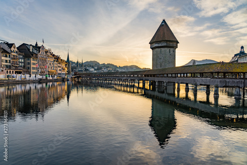 Panoramic view of city center of Lucerne with famous Chapel Bridge and lake Luce Poster Mural XXL