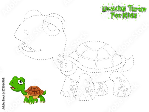 Vector Drawing And Paint Cute Cartoon Turtle Educational Game For