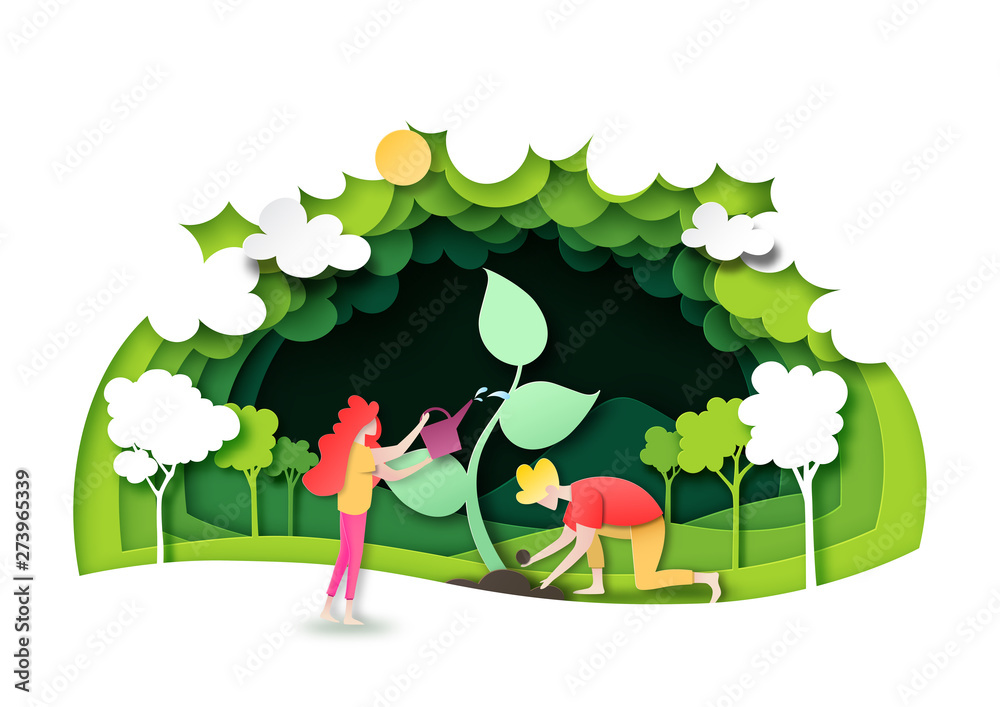 Fototapeta Save the world with ecology and environment conservation concept.People planting green forest with nature landscape background layers paper art style.Vector illustration.
