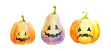 Funny Pumpkins Isolated On A W...