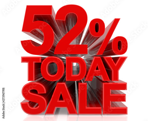 Tela  52% TODAY SALE word on white background 3d rendering