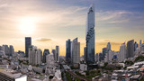 City scape of MahaNakhon building, skyscraper in the Silom/Sathon central business district of Bangkok as the tallest building in Thailand