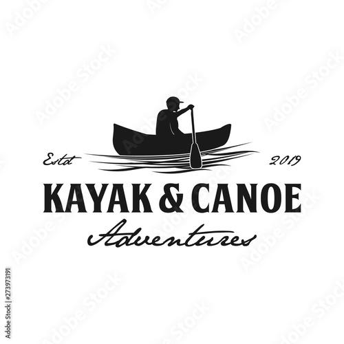Fototapeta  Kayak and canoe vintage logo design