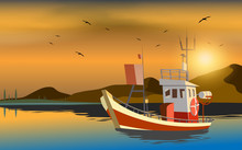 Fishing Boa At The Ocean In Su...