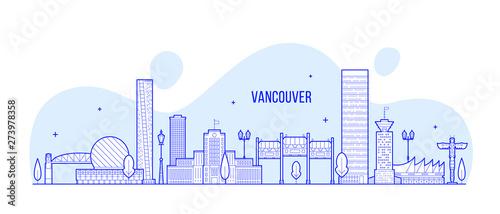 Fotografía Vancouver skyline Canada city linear art vector