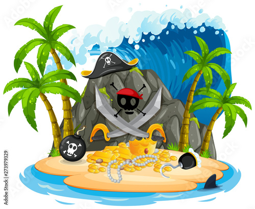 Fotobehang Kids Isolated pirate island on white background