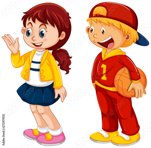Fotobehang Kids Set of student character
