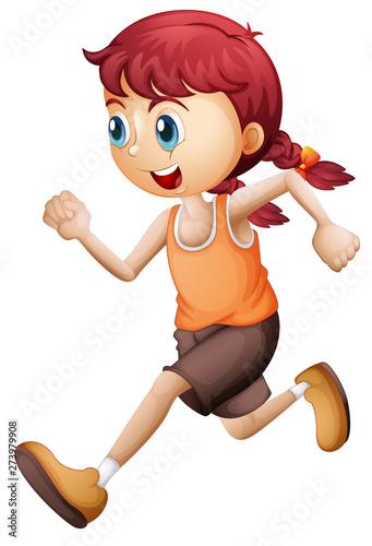 Tuinposter Vlinders A cute girl running