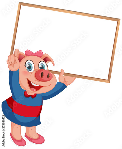Fotobehang Kids A pig with blank board