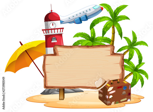 Fotobehang Kids Summer island on white background