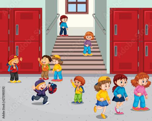 Fotobehang Kids Student at school hallway