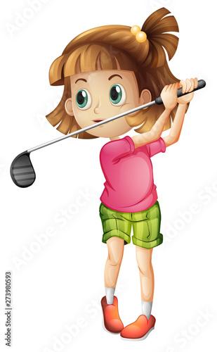 Foto auf Gartenposter Kinder A female golfer character