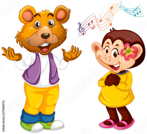 Fotobehang Kids Animal singer on white background