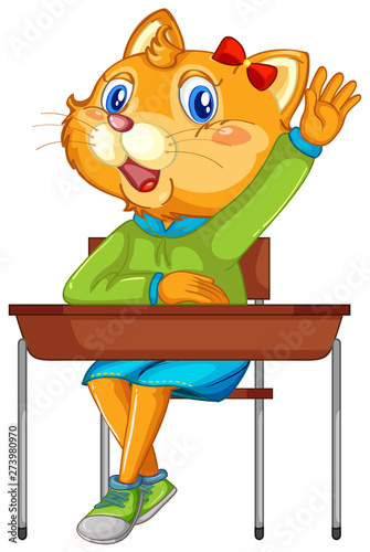Cat student character on white background