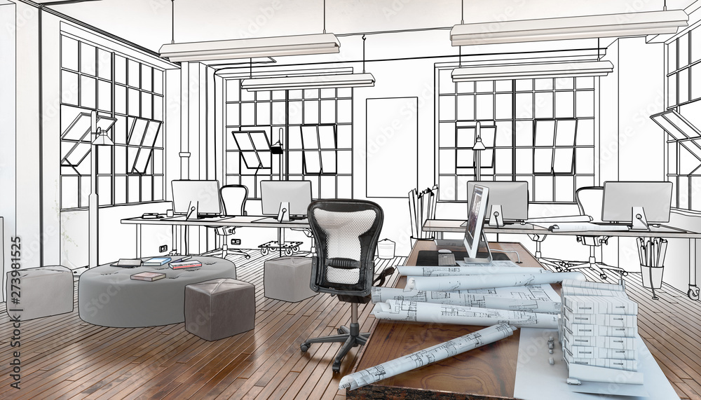 Fototapety, obrazy: Postindustrial Office Design (project)  - 3d visualization