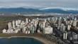 Various drone shots at English Bay near downtown Vancouver, BC during Polar Bear 2019 event