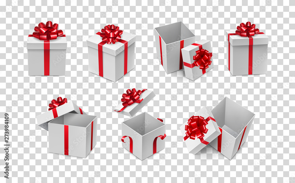 Fototapeta Various white boxes with red ribbon bows mockup. Any competition winner prize container with silk tape decoration. Many realistic gift boxes isolated on transparent background vector illustration