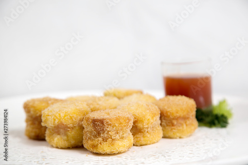 Fototapeta Crunchy fried shrimp roll with tauco sauce obraz