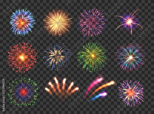 Carta da parati Big set of various fireworks with brightly shining sparks