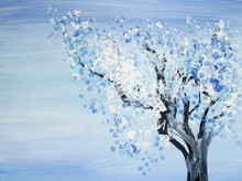 Drawing Of Bright Winter Tree Covered By Snow