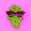canvas print picture - Cactus in trendy sunglasses. Summer mood