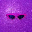 canvas print picture - Stylish sunglasses in sparkles. Disco mood