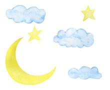 Childlike Illustration Watercolor Stars Moon Greeting Card Design Scrapbooking Stickers Stickers Congratulations Invitations