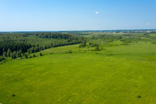 Aerial View On The Countryside And The Agricultural Field
