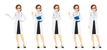 Female Doctor Set In Different...