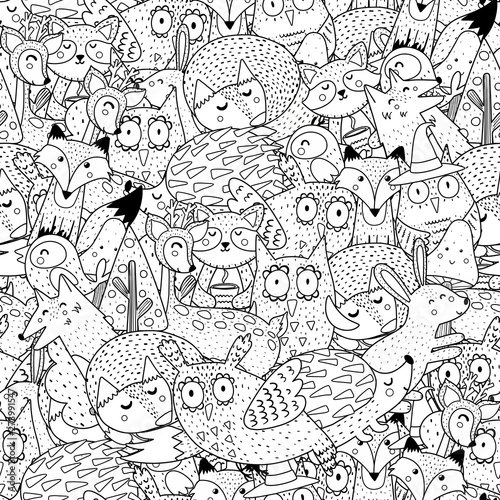 Fantasy forest animals black and white seamless pattern. Great for coloring page, prints