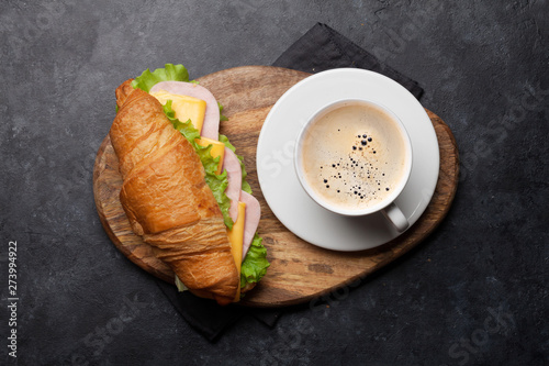 Coffee and croissant sandwich - 273994922