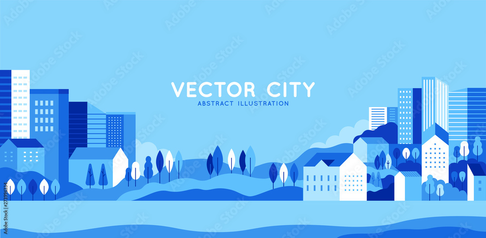 Fototapety, obrazy: Vector illustration in simple minimal geometric flat style - city landscape with buildings, hills and trees - abstract horizontal banner