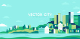 Fototapeta Miasto - Vector illustration in simple minimal geometric flat style - city landscape with buildings, hills and trees - abstract horizontal banner