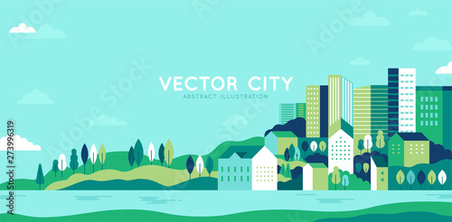 Foto auf Gartenposter Licht blau Vector illustration in simple minimal geometric flat style - city landscape with buildings, hills and trees - abstract horizontal banner