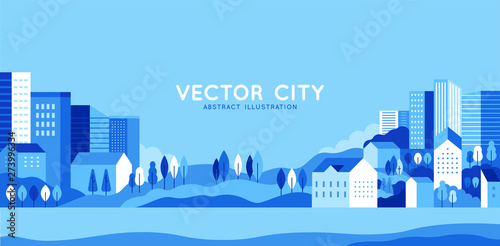 Poster Piscine Vector illustration in simple minimal geometric flat style - city landscape with buildings, hills and trees - abstract horizontal banner