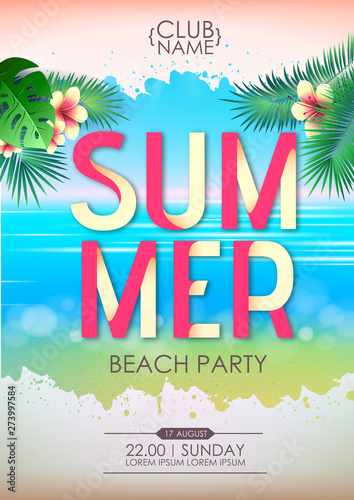 Summer disco cocktail beach party poster. Lettering summer poster. © annbozhko