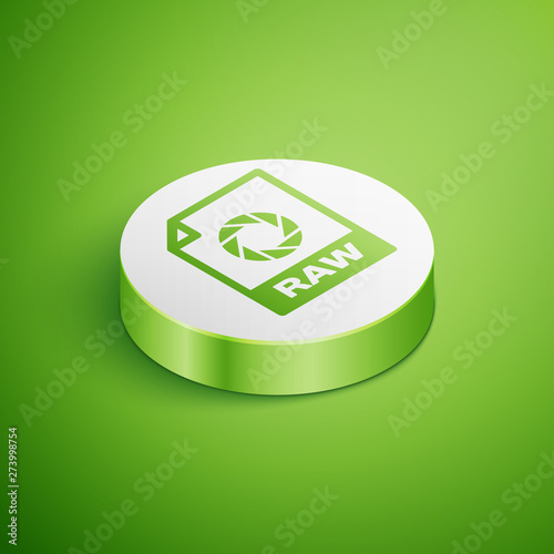 Isometric RAW file document icon  Download raw button icon isolated