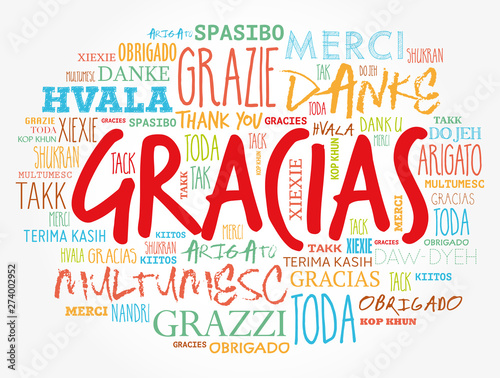 Valokuva  Gracias (Thank You in Spanish) word cloud in different languages
