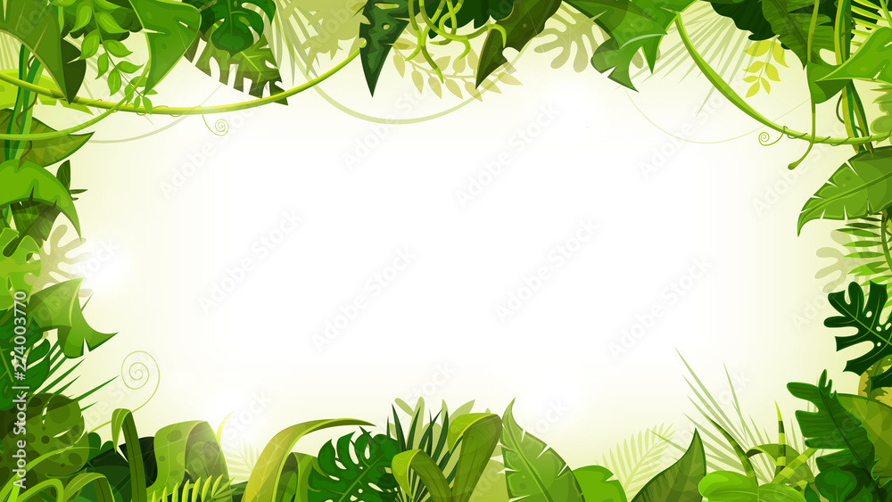 Fototapeta Jungle Tropical Landscape Wide Background/ Illustration of a jungle landscape background, with ornaments made with leaves and foliage of tropical plants and trees