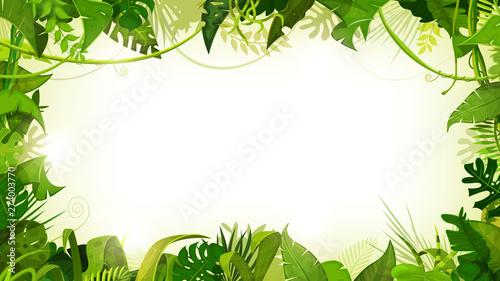 Fotografie, Obraz Jungle Tropical Landscape Wide Background/ Illustration of a jungle landscape ba